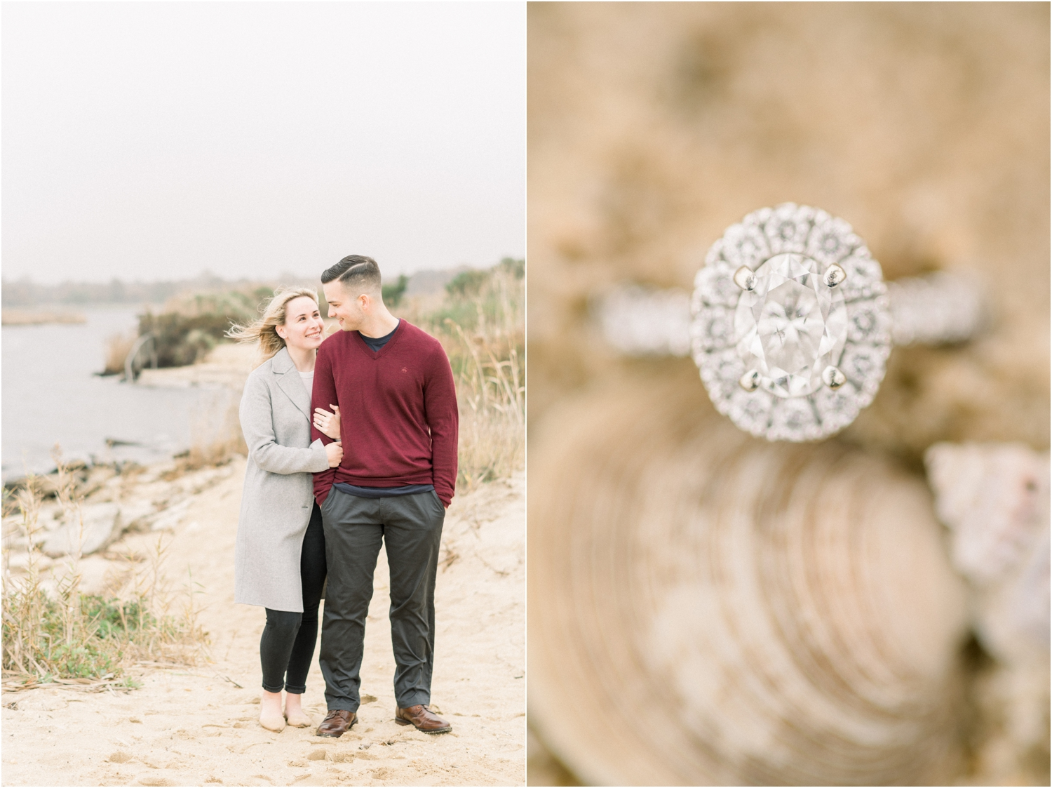 beach engagement session in the fall