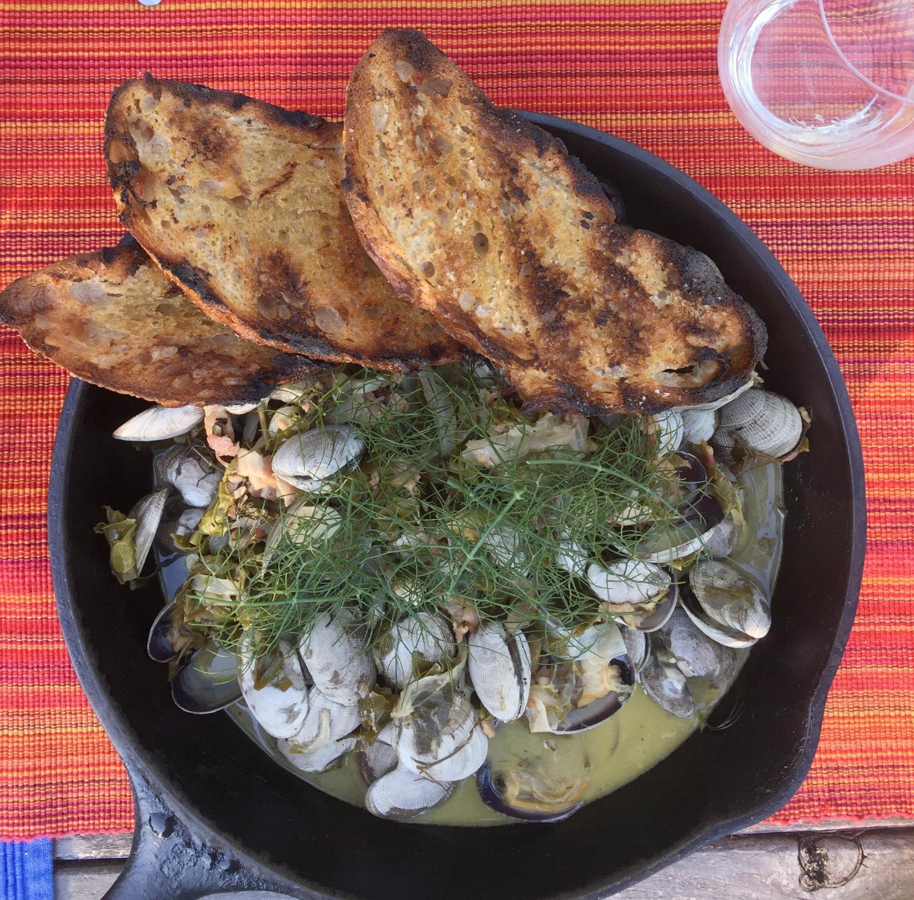 Buck Bay Manilla Clams for dinner tonight al fresco at  Turtlehead Farms