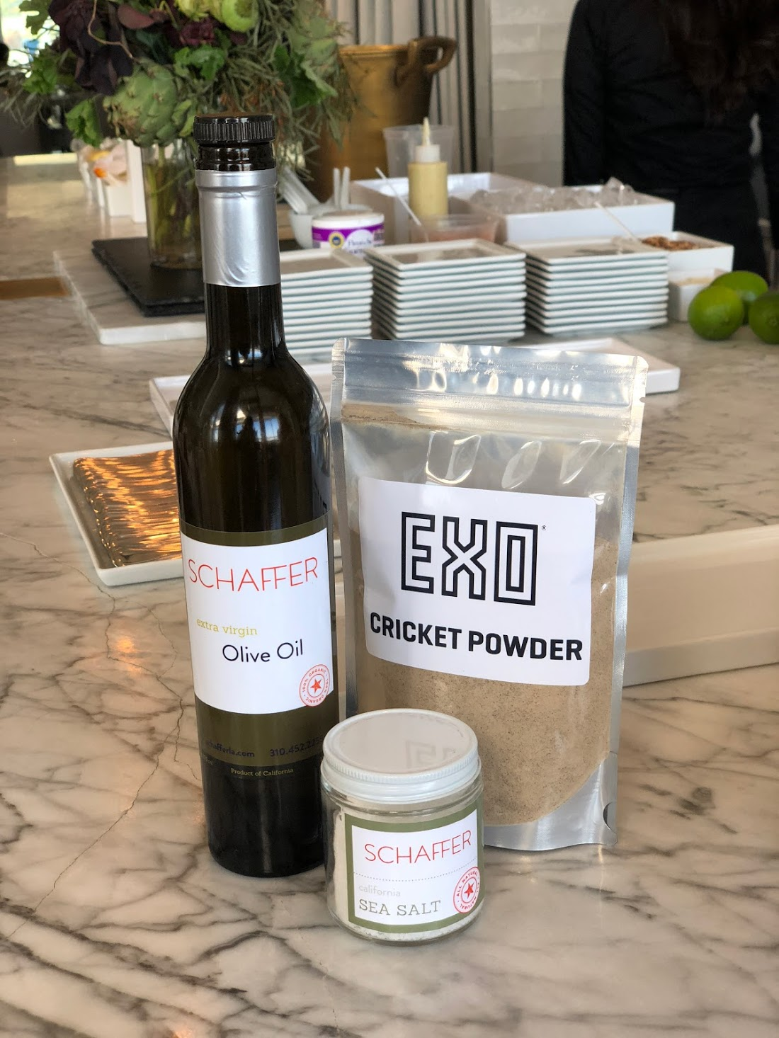 Schaffer Olive oil, Sea Salt and  EXO Cricket Powder  are a few of the ingredients in our  Cricket Hummus .