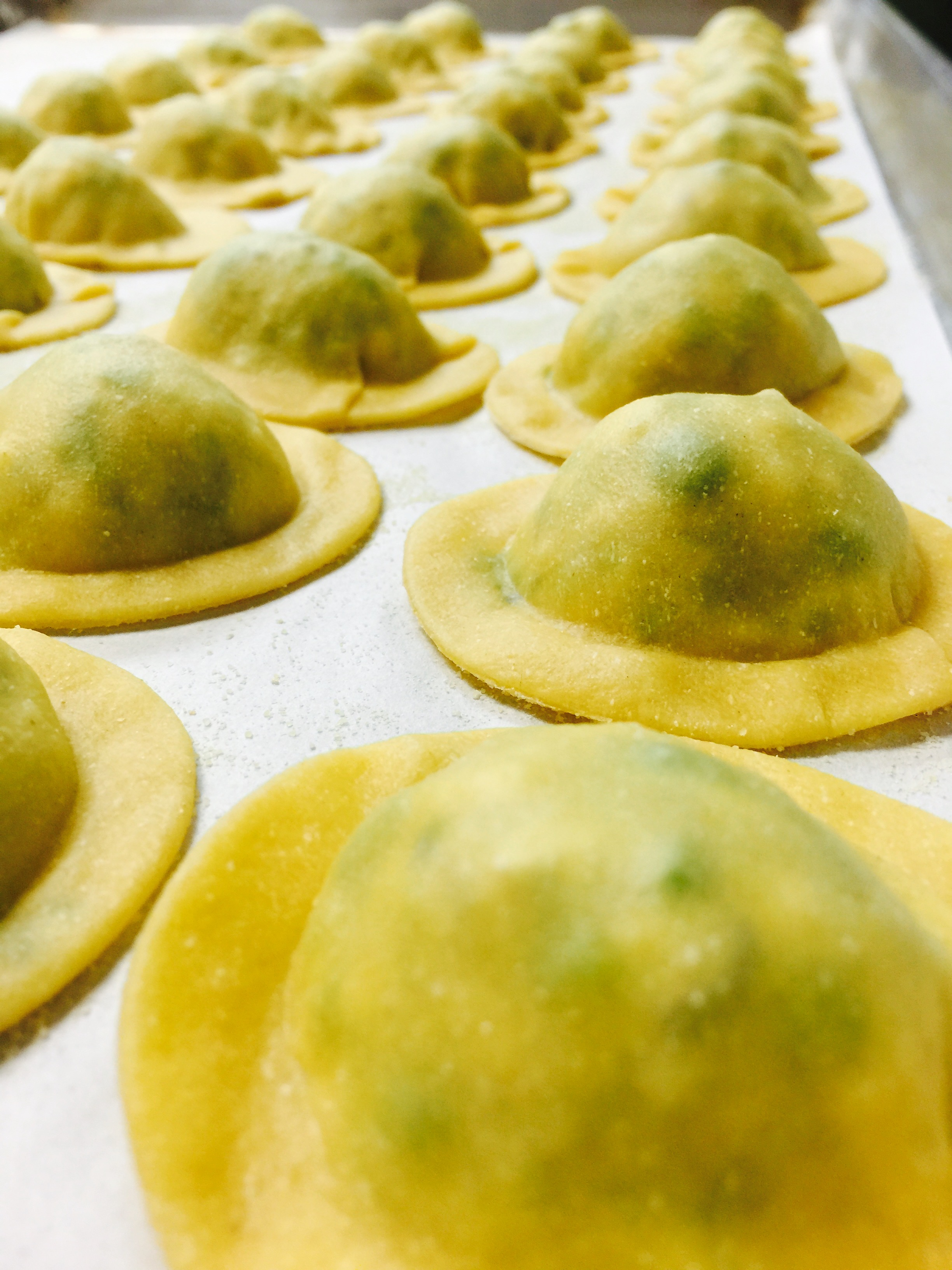 Our ravioli are the perfect little pocket to hold a mixture of sautéed wild mushrooms, shallots, porcini powder, ricotta and herbs.