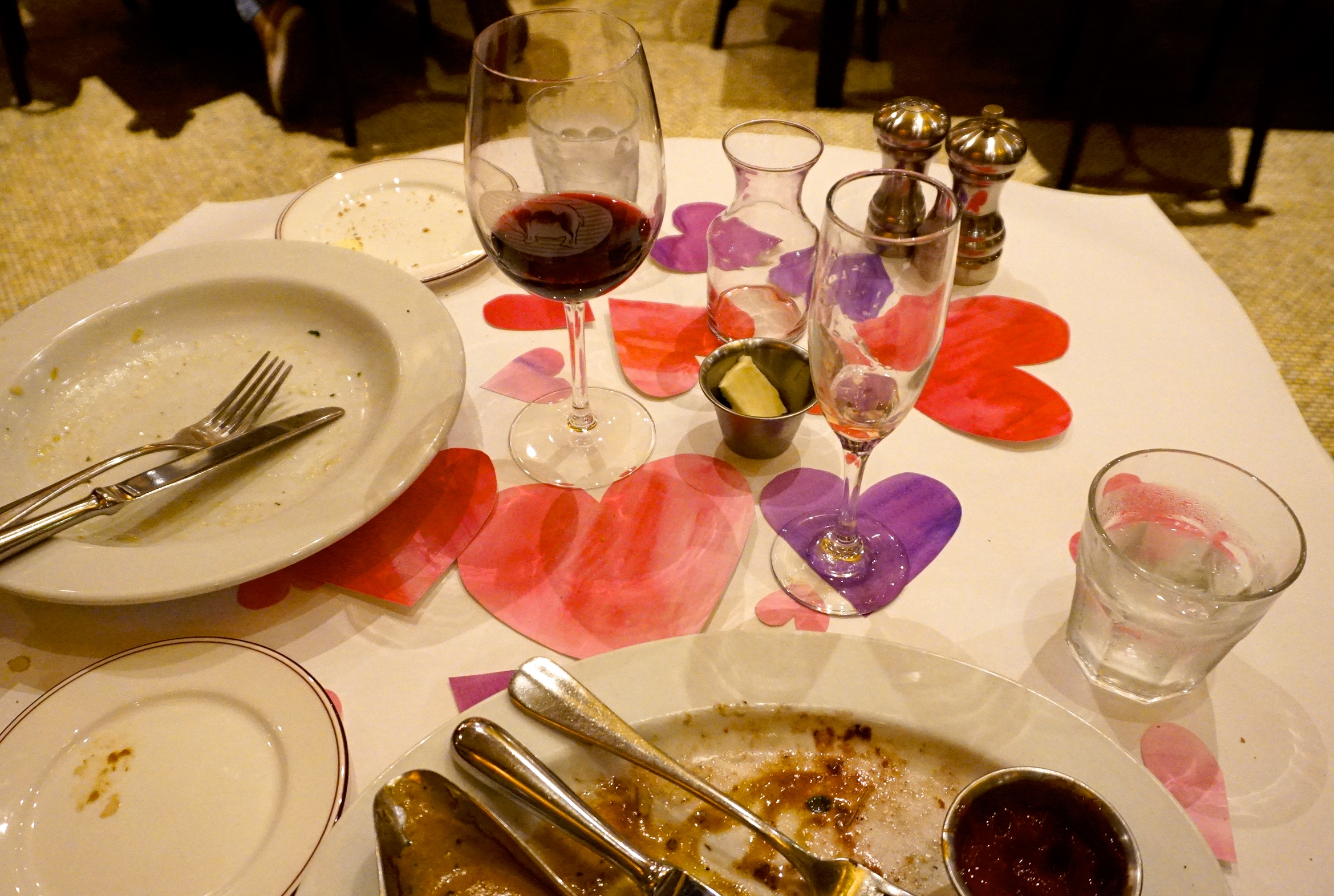 Post dinner shot. The hearts moved around a little but never 'got in the way'.