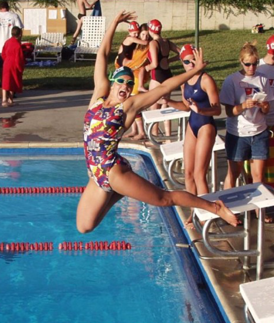 This is me at 14, leaping into a cool pool on a warm summer day. Wish this is always how I feel, but it's always the goal!