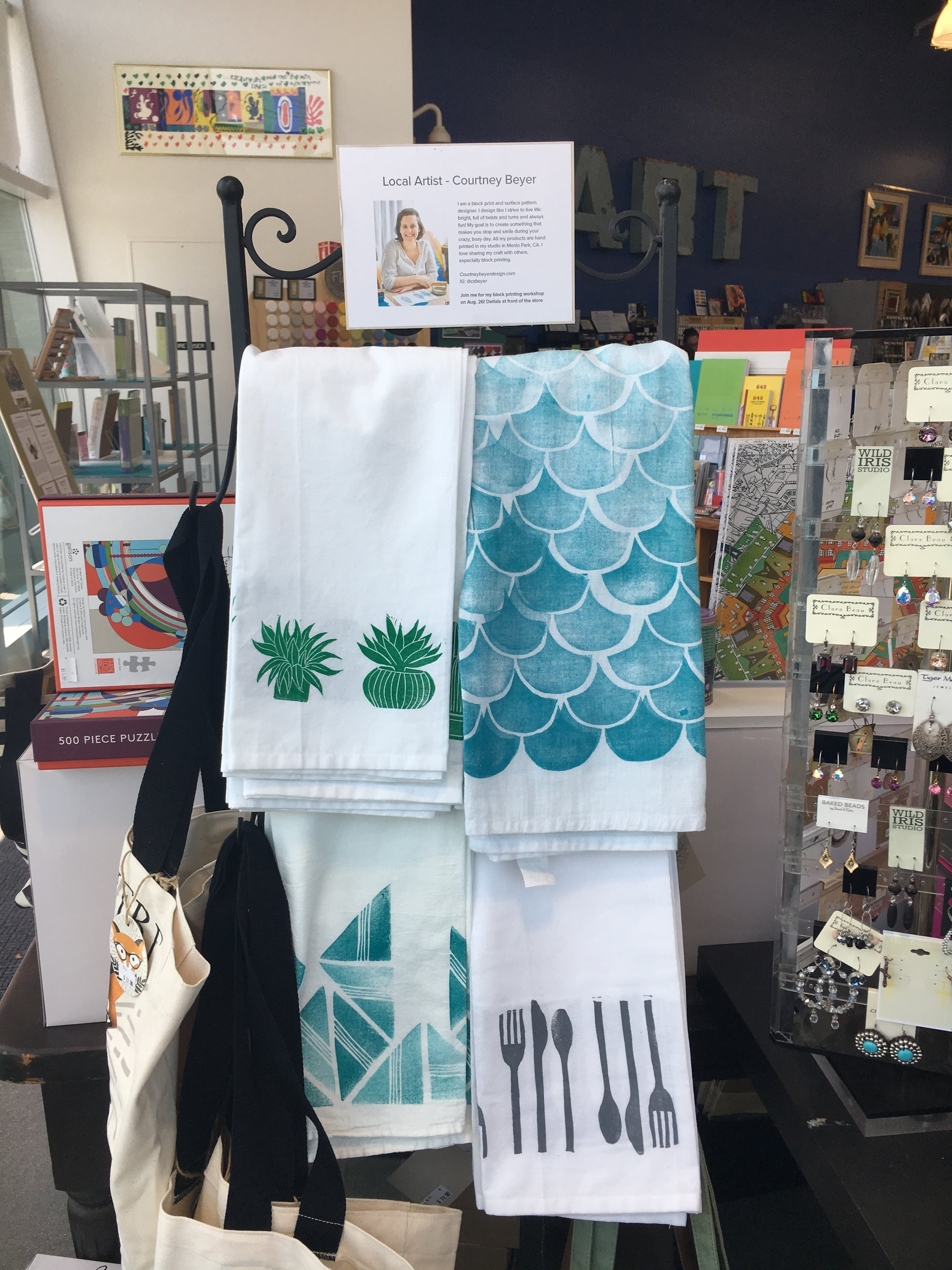 My tea towels on display at University Art. Something I would not have believed back in Feb.