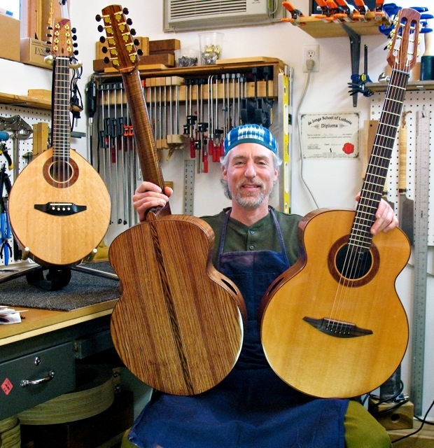 In the workshop with a few of my stringed instruments, circa 2010