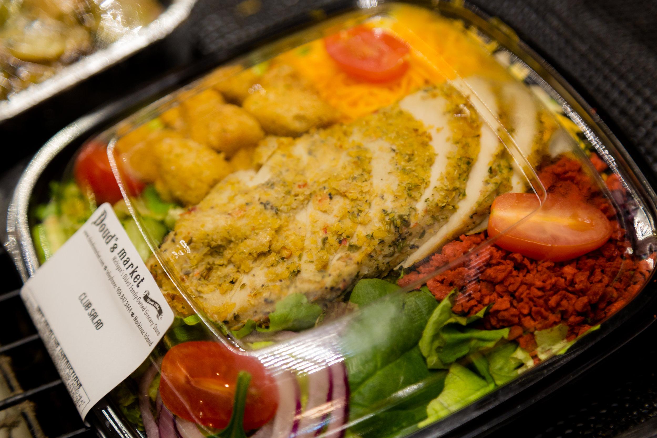 Food to go, lunch, snacks, salad, deli, club salad, fresh made