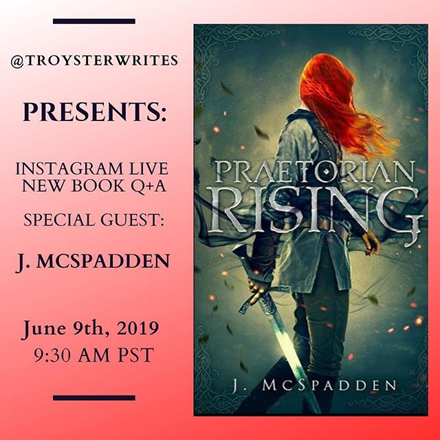 Exciting news! Mark this date!  I'm happy to announce that I will be hosting an Instagram Live Q+A with my friend @jessie_grace137 this Sunday, June 9th, 2019 at 9:30 PST to discuss her new book, Praetorian Rising!  Come see what the book is all about! We will discuss the book, the awesome cover art, and the author herself!  Tag a friend who would you'd think would like to know more about this book in the comments!  Below is the synopsis off her website for Praetorian Rising:  In a shattered reality filled with questions and secrets, the terrifying truth may not be who she is, but what.  Camille Scipio awakens one morning remembering nothing of her life.  The sword and bow feel like old friends as she eases into a routine life in the small town of Sierra Village.   Able to gut a squirrel in two seconds and hunt in the forest past curfew, she's devastated when a mysterious beast attacks the village and critically strikes the only family she's grown to love.  The family she failed to protect.  Now, fleeing for her life, and hunted by the tyrannical High King of Aspera, Camille finds herself at the center of a rebellion led by genetically enhanced assassins known as Praetorians.   Flanked by Vesyon Vestra and Theo Shaehy, Camille struggles to understand her role in their fight and in their hearts.  As horrors of the past threaten to consume her, Camille must make a choice: join the Rogue rebellion or seek revenge against those who wronged her.   Can she defeat the demons within and fight for freedom? Or will she slip into the darkness of her past?  #iglive #authorqanda #behindthebook #gettoknowtheauthor #beautifulcover #authorsofig #fantasyreads #epicread #authorscommunity #authorgram #fantasywriter #igwritingcommunity #fantasynovel #fantasyauthor #authorsofinsta #writingabook #writingsociety
