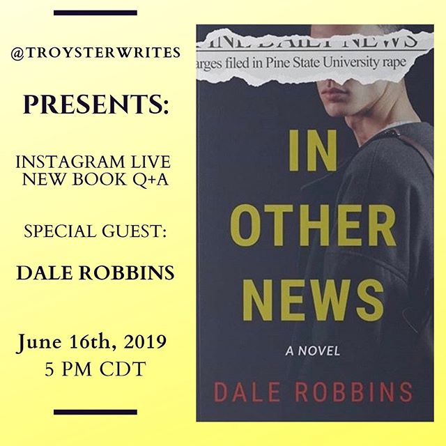 New Book IG Live Q+A time!  Mark your calendars because I am pleased to have @authordalerobbins to talk about his new upcoming book, In Other News!  We will discuss what his book is about, some of his writing and social media tips, and get to know Dale a little bit more!  The IG Live will be this Sunday, June 16th, at 5 pm CDT. You won't want to miss this!  Tag a friend who you'd think would like to see this, and make sure to go follow Dale if you haven't already!     #writedreambelieve #authorinteraction #authorssupportingauthors #authorinterview #supportauthors #writingcenter #readingaddiction #authorgram #authorscommunity #writingprocess #writingtip #writingworkshop #igwritingcommunity #writingcommunityofinstagram #writingadvice
