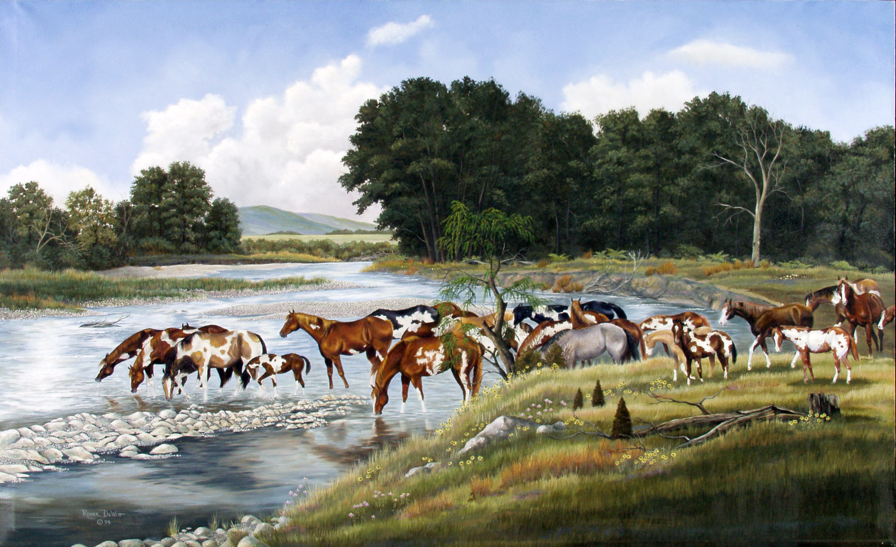 This scene is taken from a particular place along the Jack's Forks River in the Ozark region of southern Missouri. When I was young I used to ride along this river on our family trail riding vacations. The horses in the picture are a few of the many my wife and I have raised over the past 30 years. They were painted from individual photographs we had taken. If I ever sell the farm, I might slip off to these hills with my art supplies and a good saddle horse and never come back.