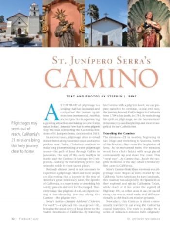 Click on the article to find out more about the new Camino of St. Junipero Serra in California, a pilgrimage closer to home.