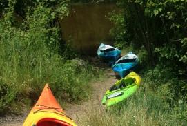Kayaks on trail