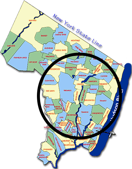 Map of Northern New Jersey and Bergen County