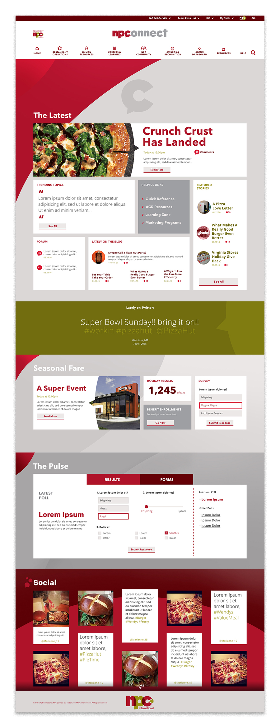 The homepage is an engaging dashboard to show all users current company information at a glance.