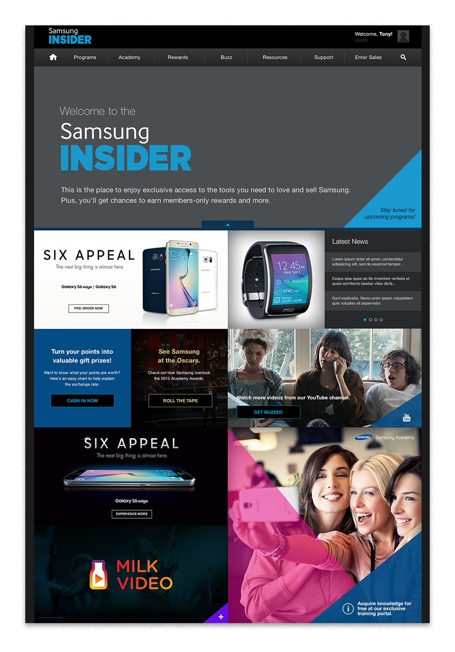 The homepage became a dynamic mosaic of interactive brand content.