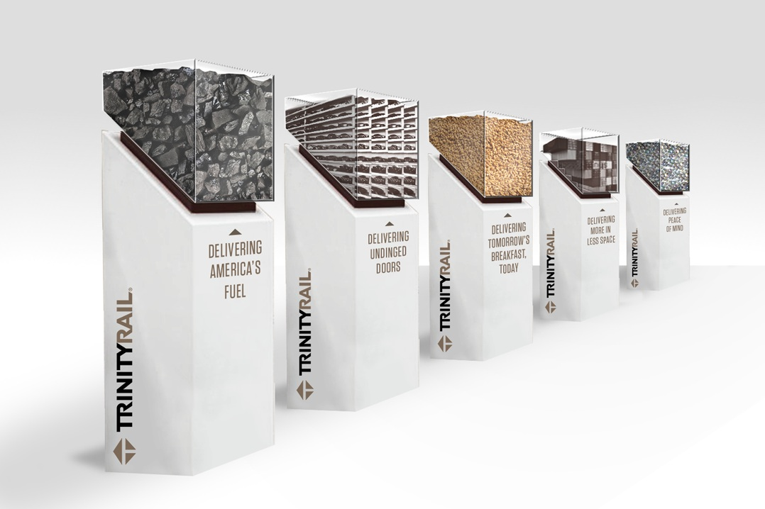 Pedestal concept designed and written to highlight TrinityRail's freight commodities