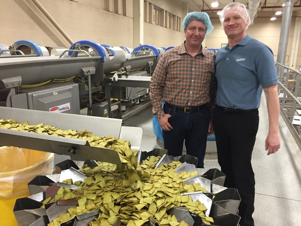 Jerry Bello in his pasta chips manufacturing center