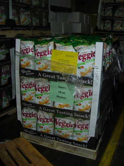 Veggie Straws packaged to ship to international retailers