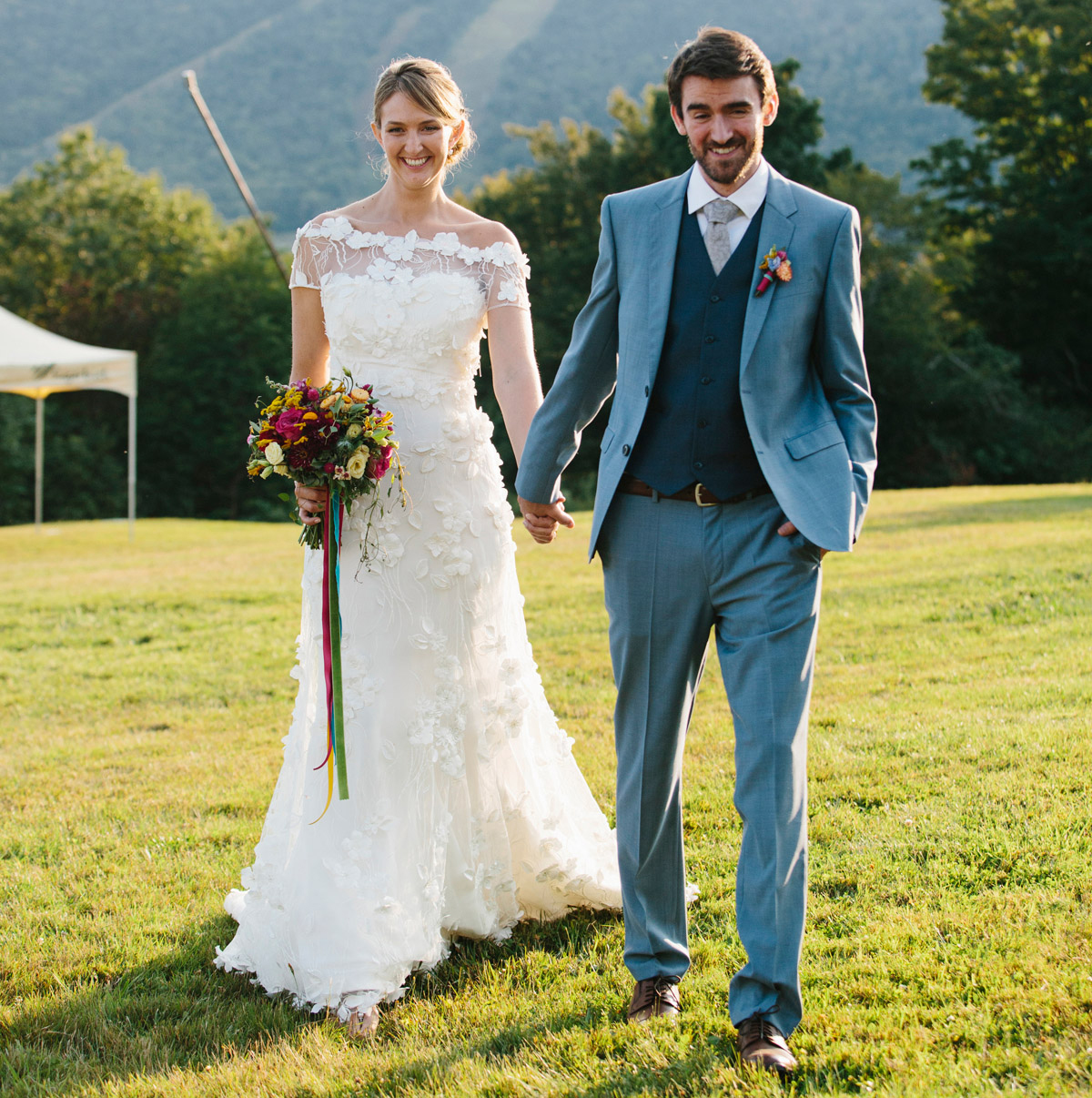 Custom wedding gown, netting appliqued with flowers, made in Vermont