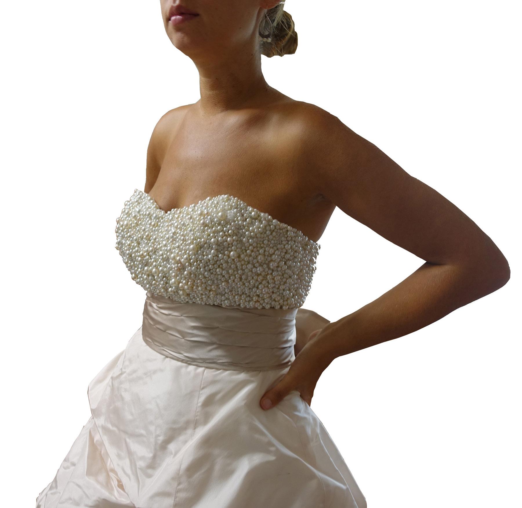 wedding dress embellished with pearls