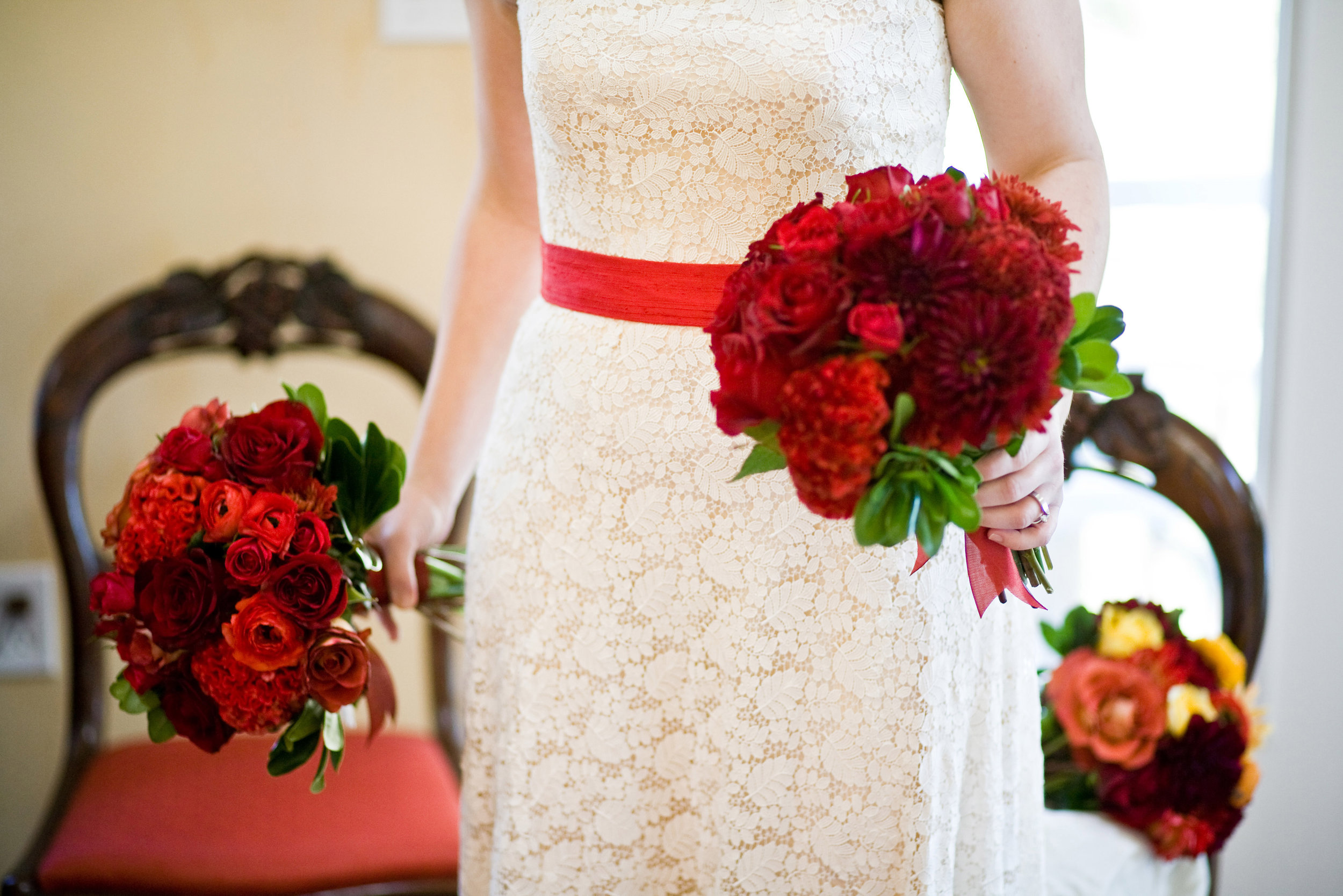 Guipure Lace Strapless Gown with Red Sash
