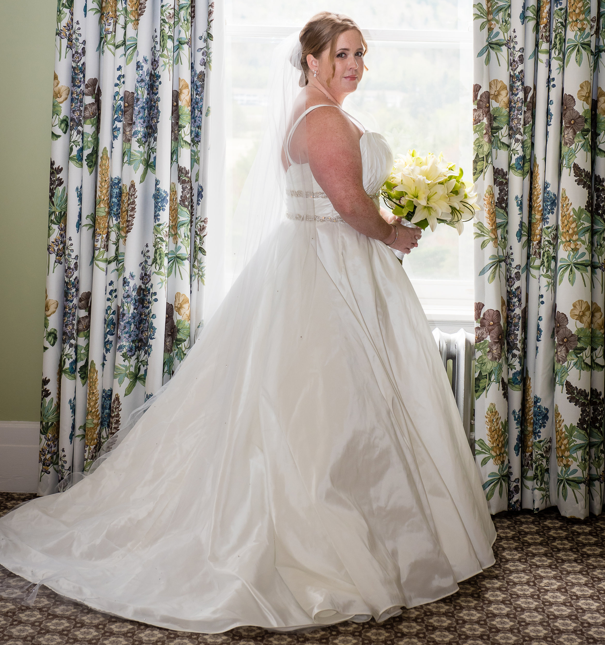 satin wedding gown with full circle skirt