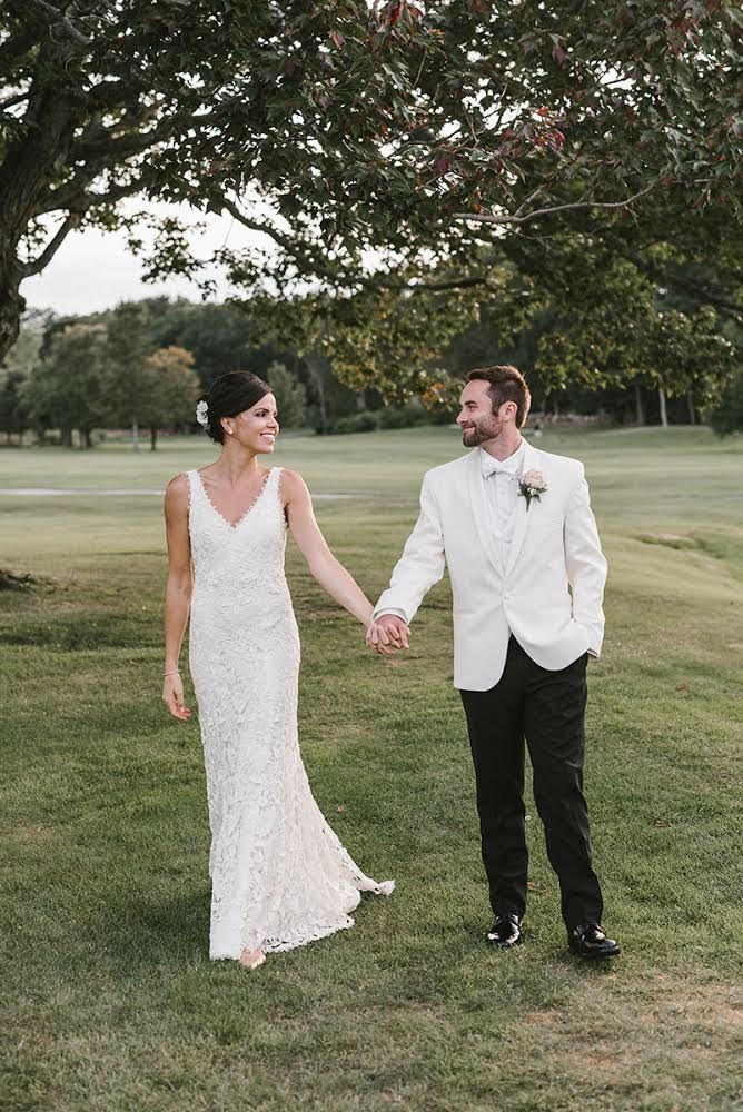 V-Neck Guipure Lace Gown