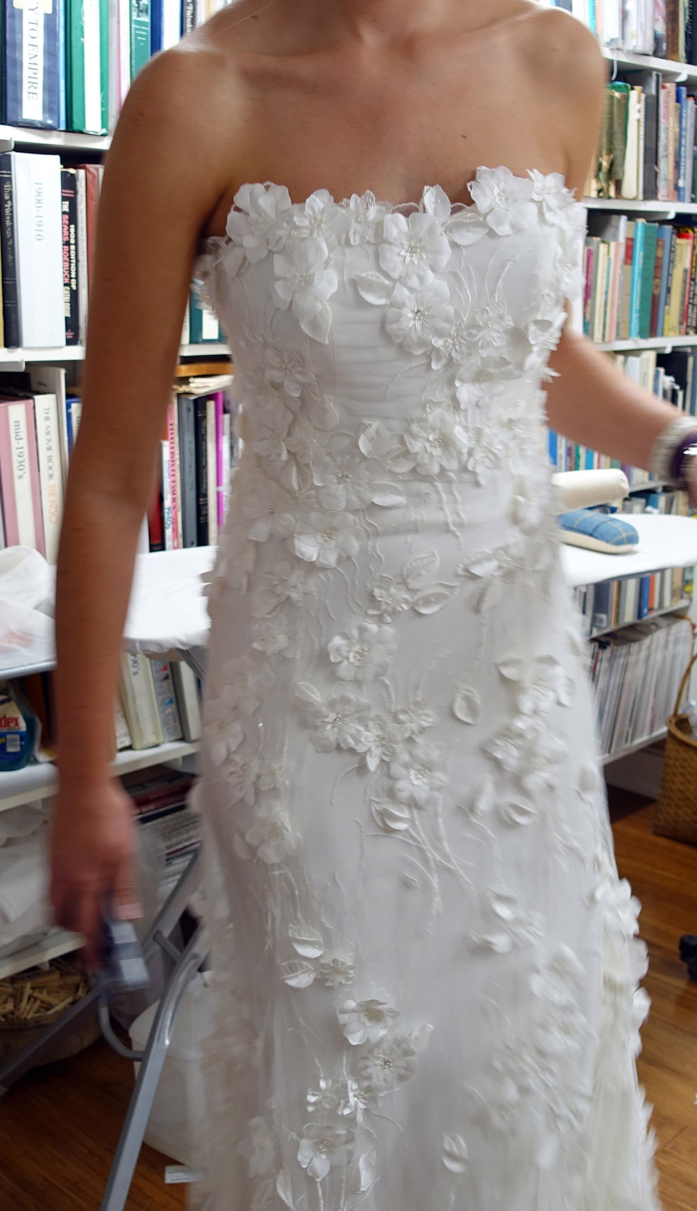 Embroidered Netting Scattered with 3-D Flowers