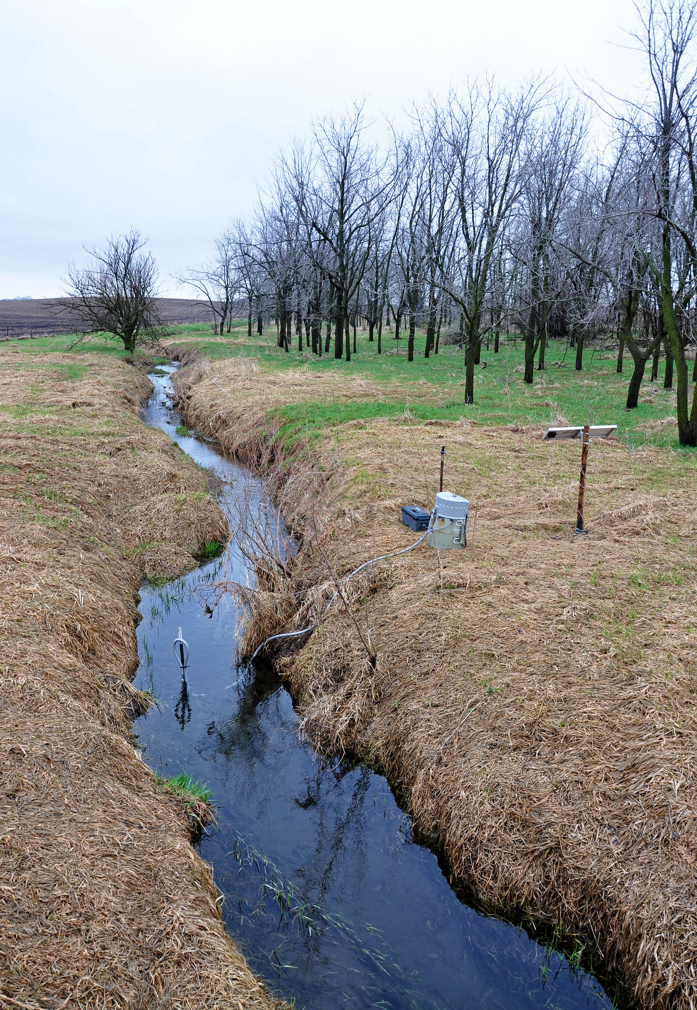 The Iowa Department of Natural Resources uses an automated water quality monitoring system along a stream in Sac County, Iowa.