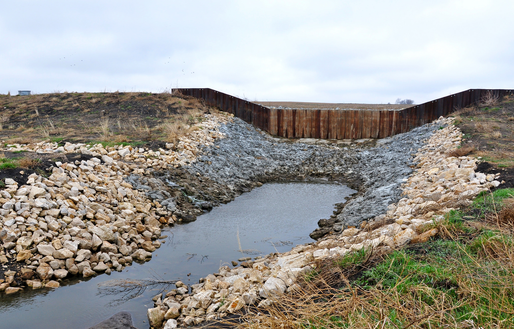 A newly constructed CREP wetland in Sac County will help filter sediment and phosphorus from a stream that flows into Black Hawk Lake.