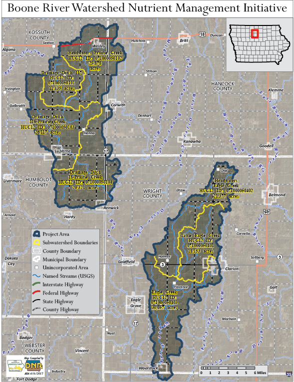 Boone River Watershed Nutrient Management Initiative — Clean ... on map of mass by county, map of ok by county, map of oh by county, map of ny state by county, map of new york by county, map of iowa state, map of iowa town, map of iowa resources,