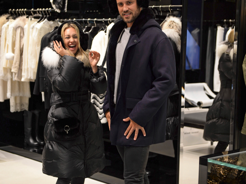 Nick couldn't look more awkward while shopping with Corinne!