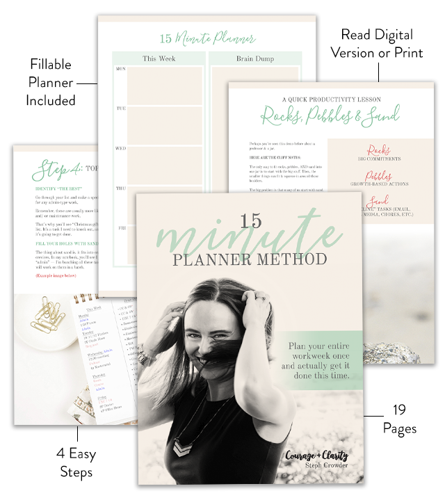 15 Minute Planner Method by Steph Crowder. Stop wondering what to work on this week & start making real progress towards your dreams.Plan your entire work week once, and actually get meaningful stuff done this time!