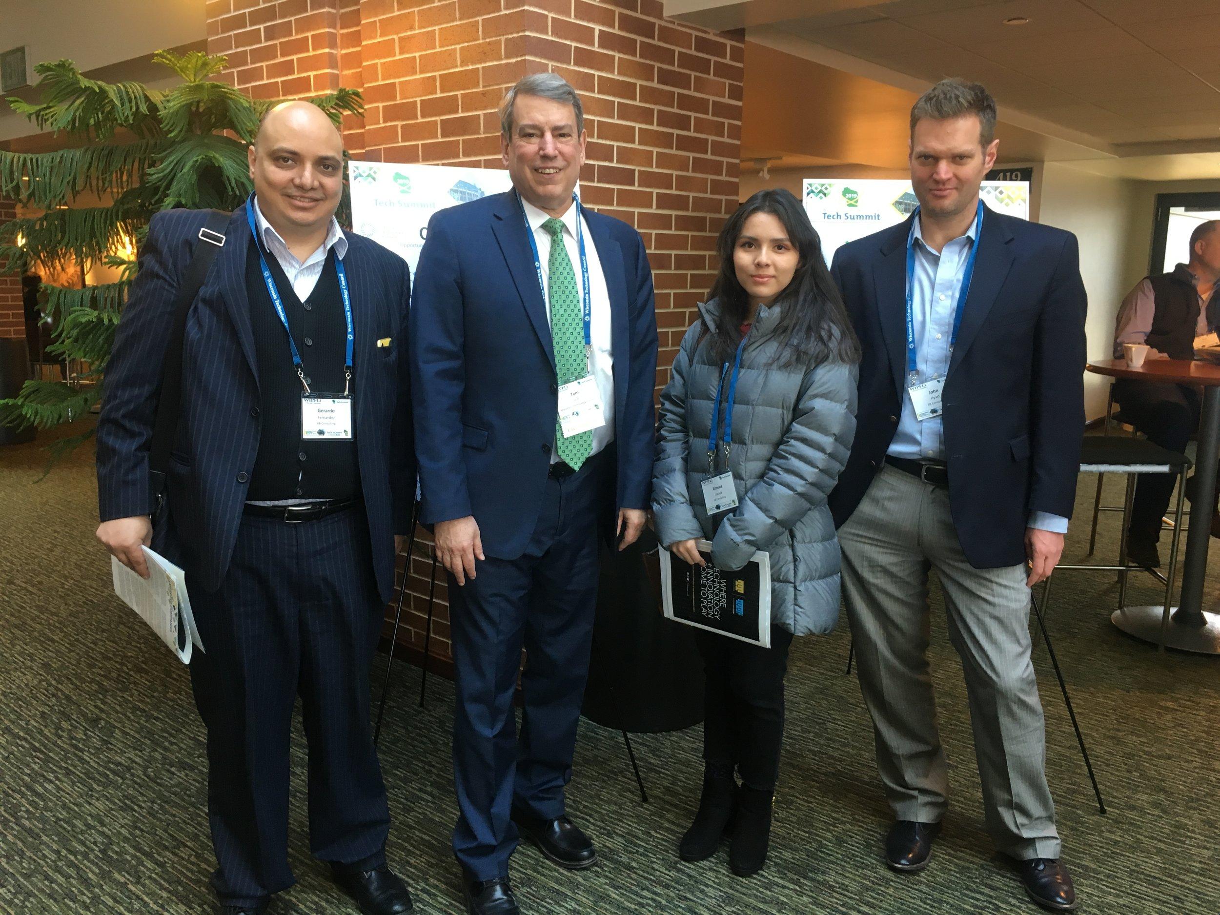 IIB Consulting at the WI Technology Summit. Pictured from left to right: Gerardo Fernandez, Tom Still, Ximena Lozada, & John Hyatt.