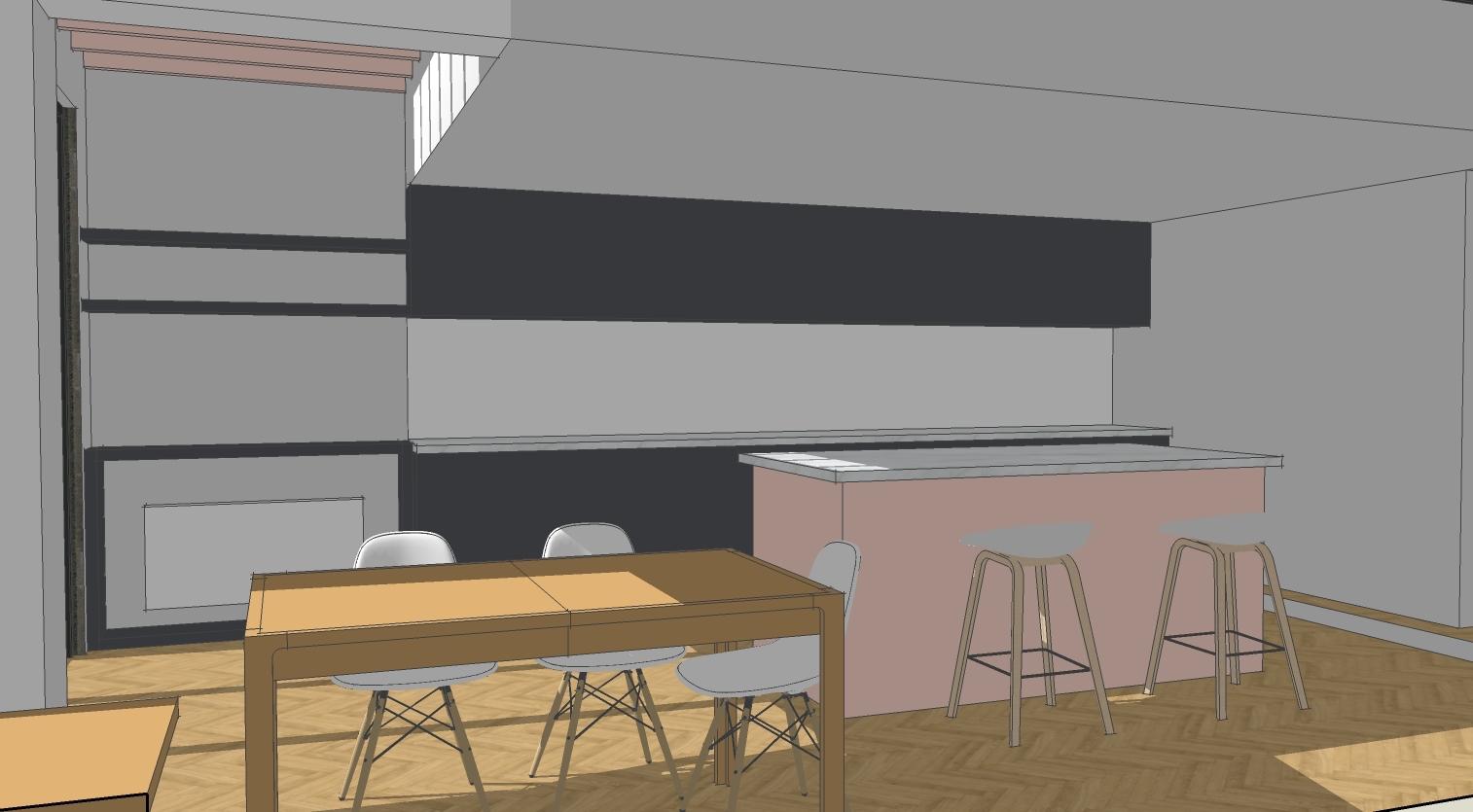 Sketch view of open plan kitchen