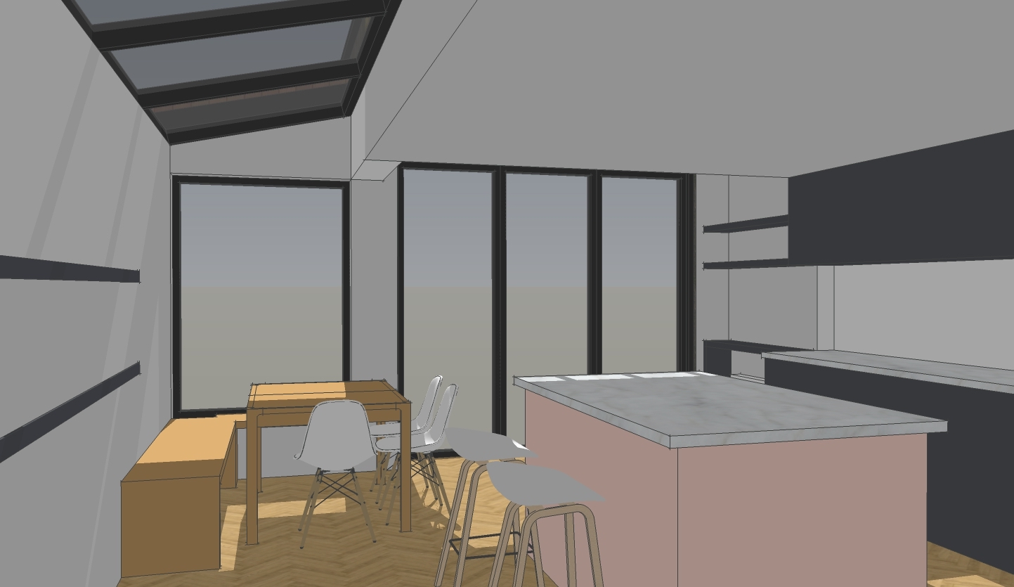 Sketch view of kitchen and dining area