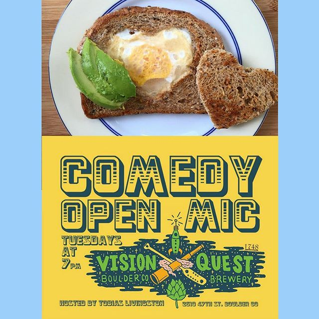 The Colorado debut of @makinwhoopee is TODAY at @visionquestbrewing in Boulder from 4-8pm! Comedy open mic night + craft brews + delicious food! 💫💫 Come get you some of the first!! ✌️❤🍳 #MakeWhoopeeNotWar