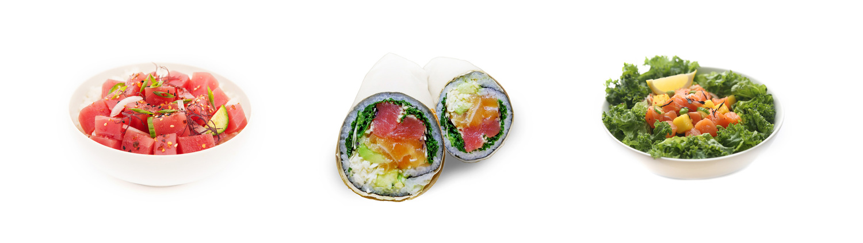 POKÉ BOWL sushi rice, organic brown rice, or quinoa POKÉ BURRITO sushi rice & roasted seaweed wrap POKÉ SALAD fresh romaine and spring mix
