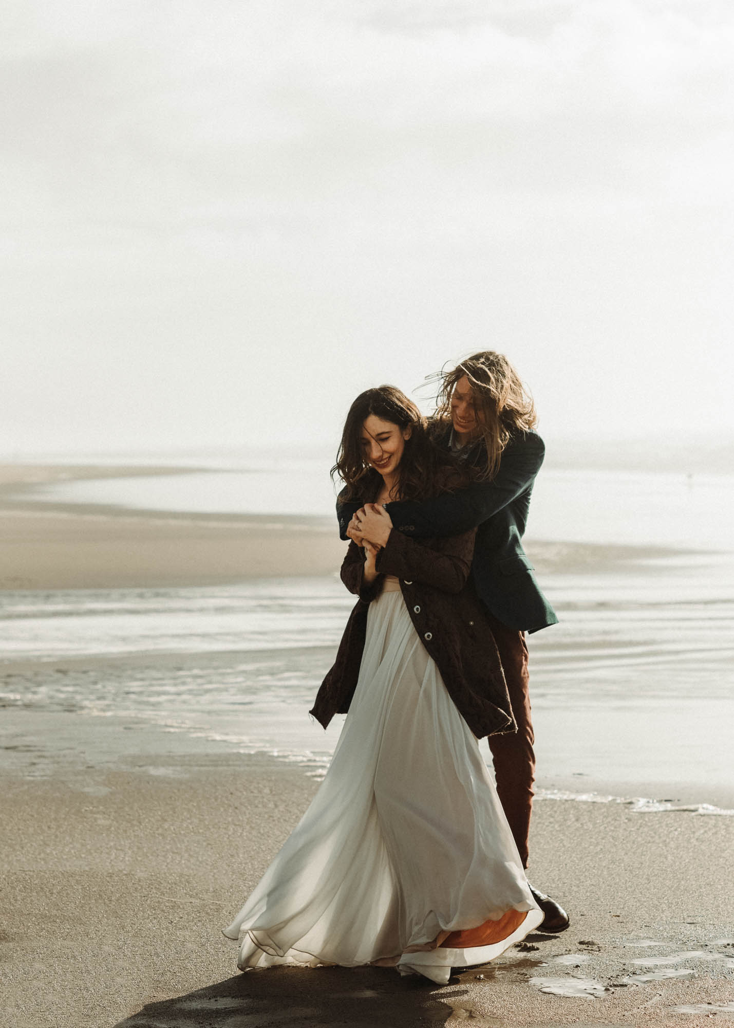 Newly married couple's first dance together at their elopement on the Oregon Coast