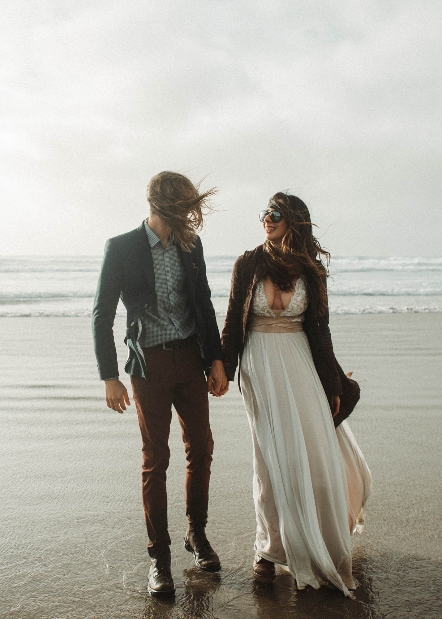 Best bride and groom flowy hair styles for beach wedding and elopement
