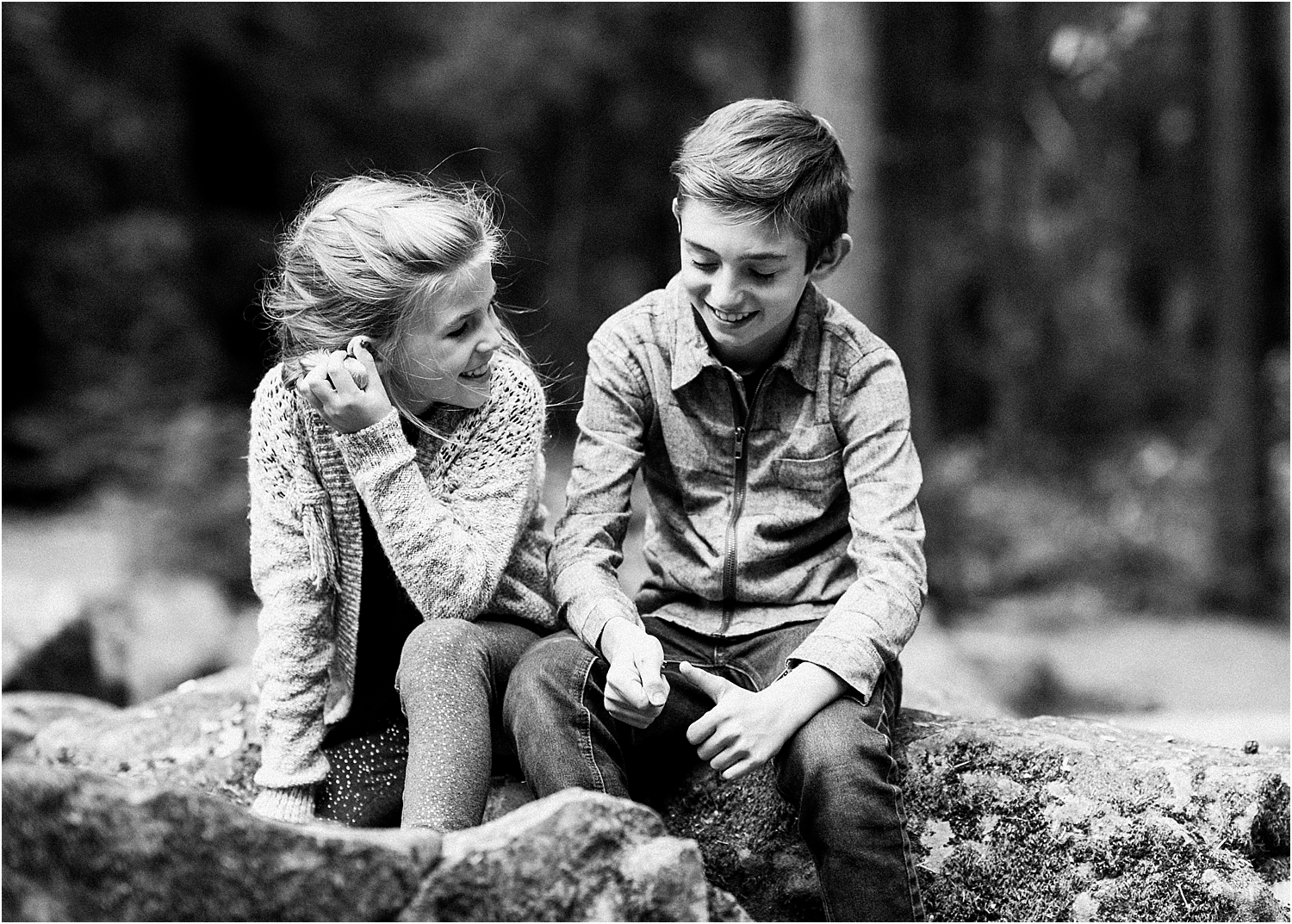 Brother and Sister candid photos in the forest