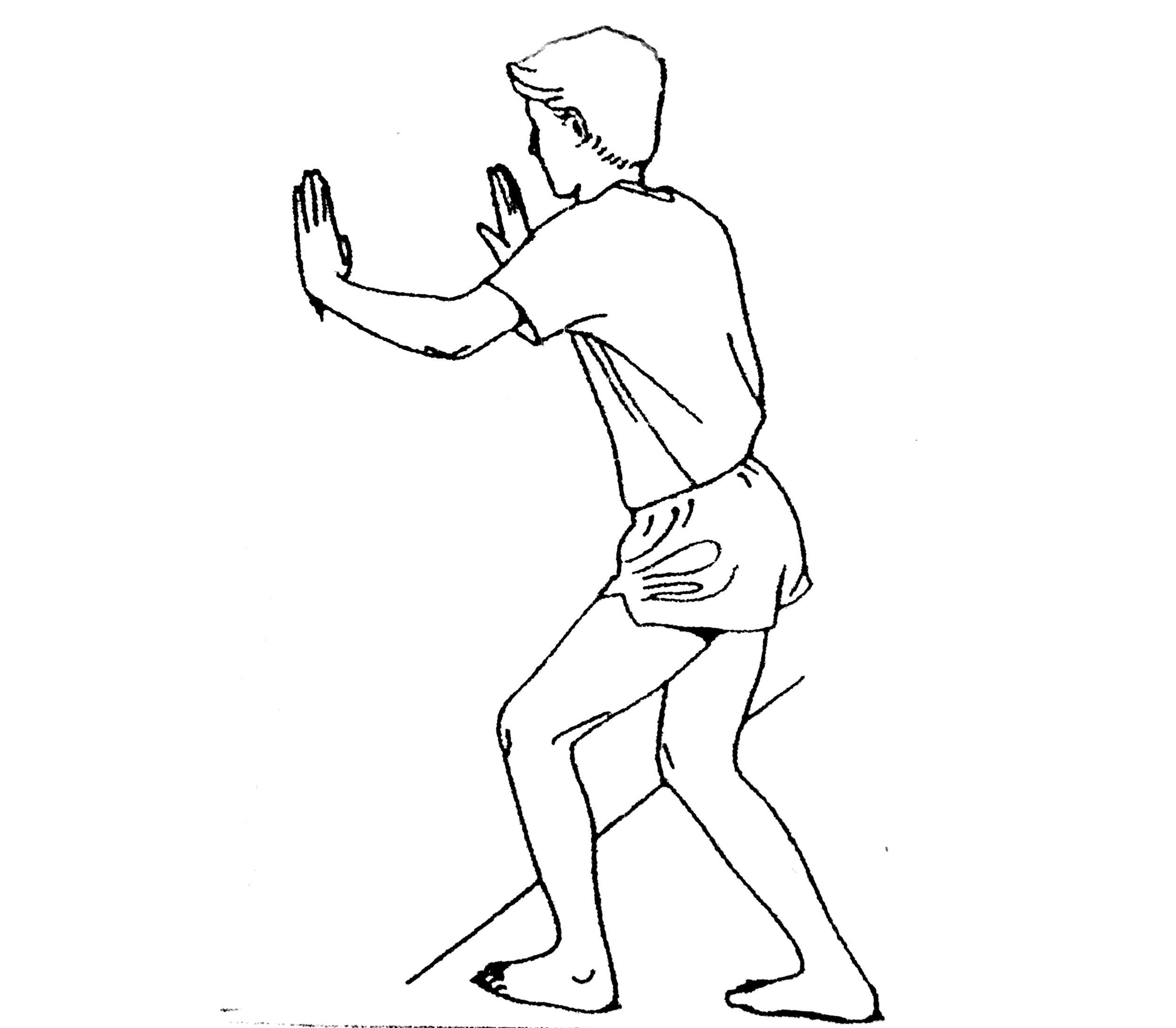 Standing with hands on the wall in front of you, bend your left knee as far as you can until you feel a pull on your left Achilles tendon. Try to bear some of your body weight on your right leg so the stretch is more passive on the left. When doing this stretch try to keep your kneecap over your toes and your arch pulled up. Hold for 30 seconds. Repeat 3 times. Try to do this stretch throughout the day, every couple of hours, even if it is just one stretch.