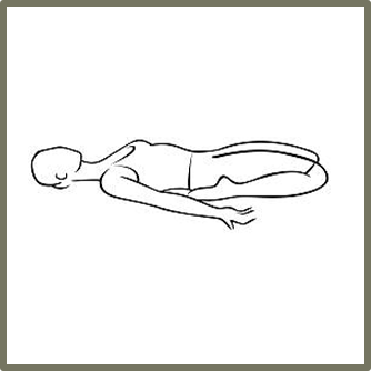 ** It is important with this pose to use bolsters and blankets to fully support your spine and head. Use as much height as you need to make this position reasonably comfortable**