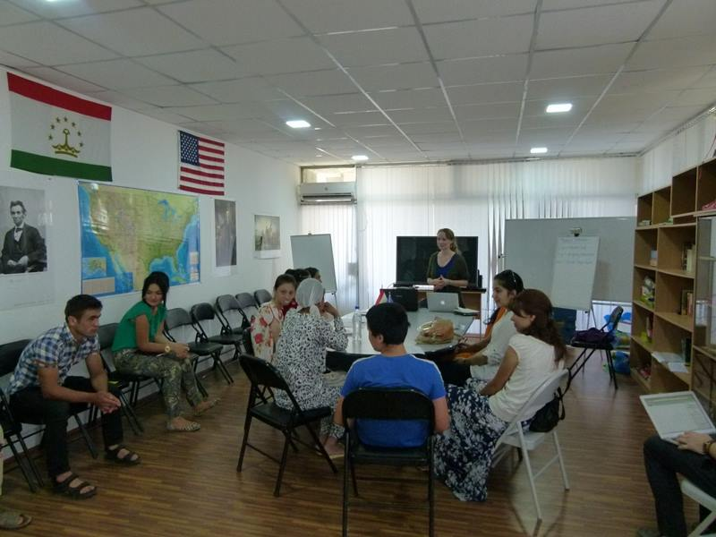 Discussion about environmental responsibility at the  American Corner  in Khujand, Tajikistan.