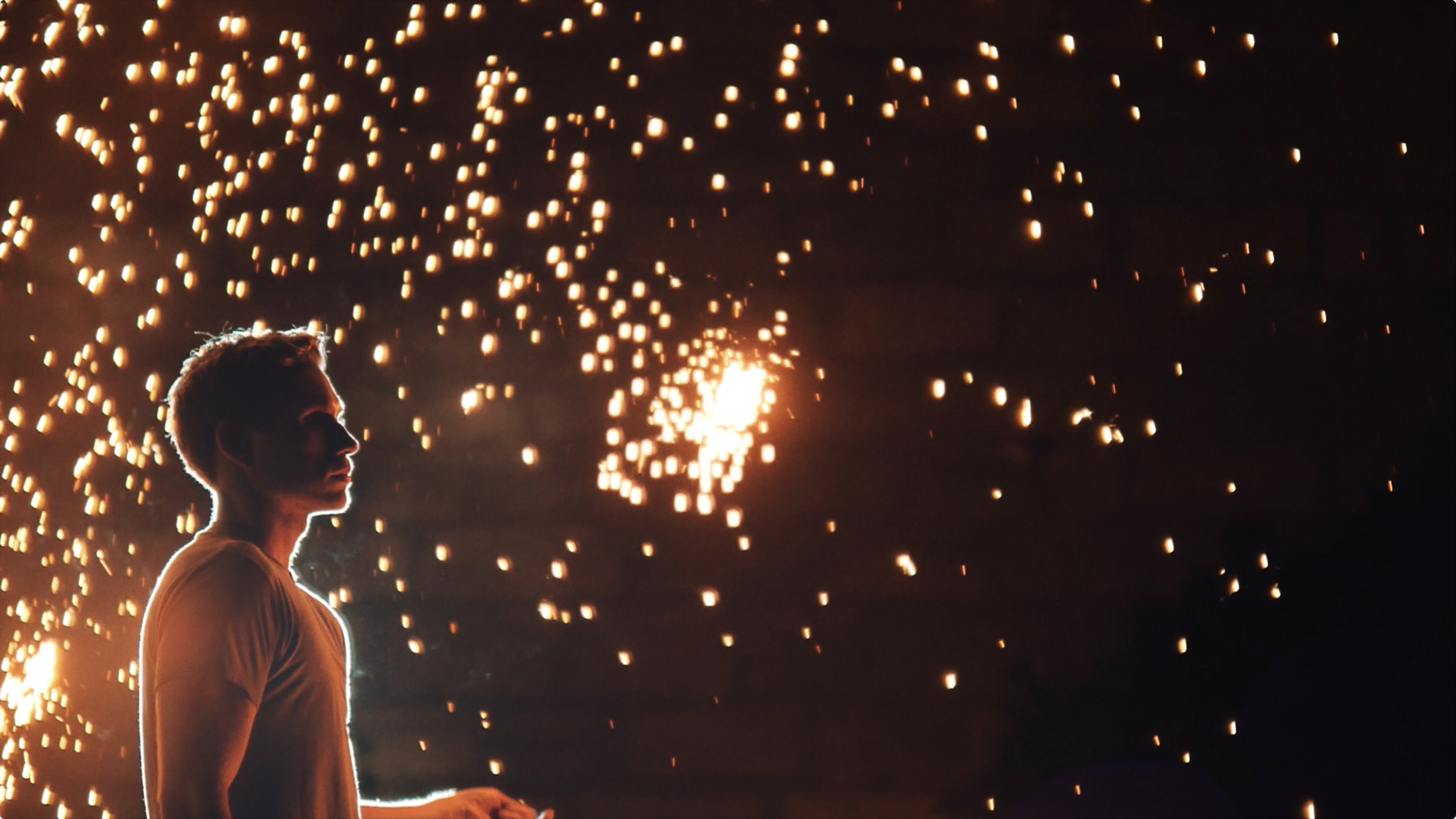 mid-action shot from our indie music video with a steel wool sparkler