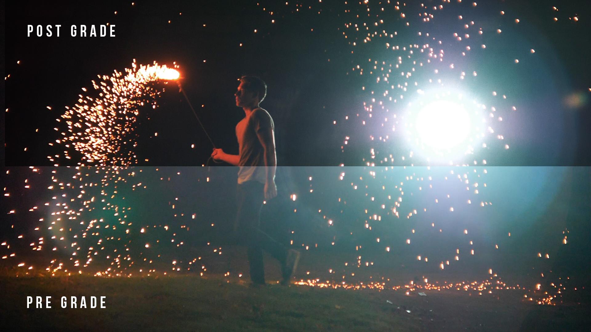 color grading split showing steel wool fire sparkler in music video