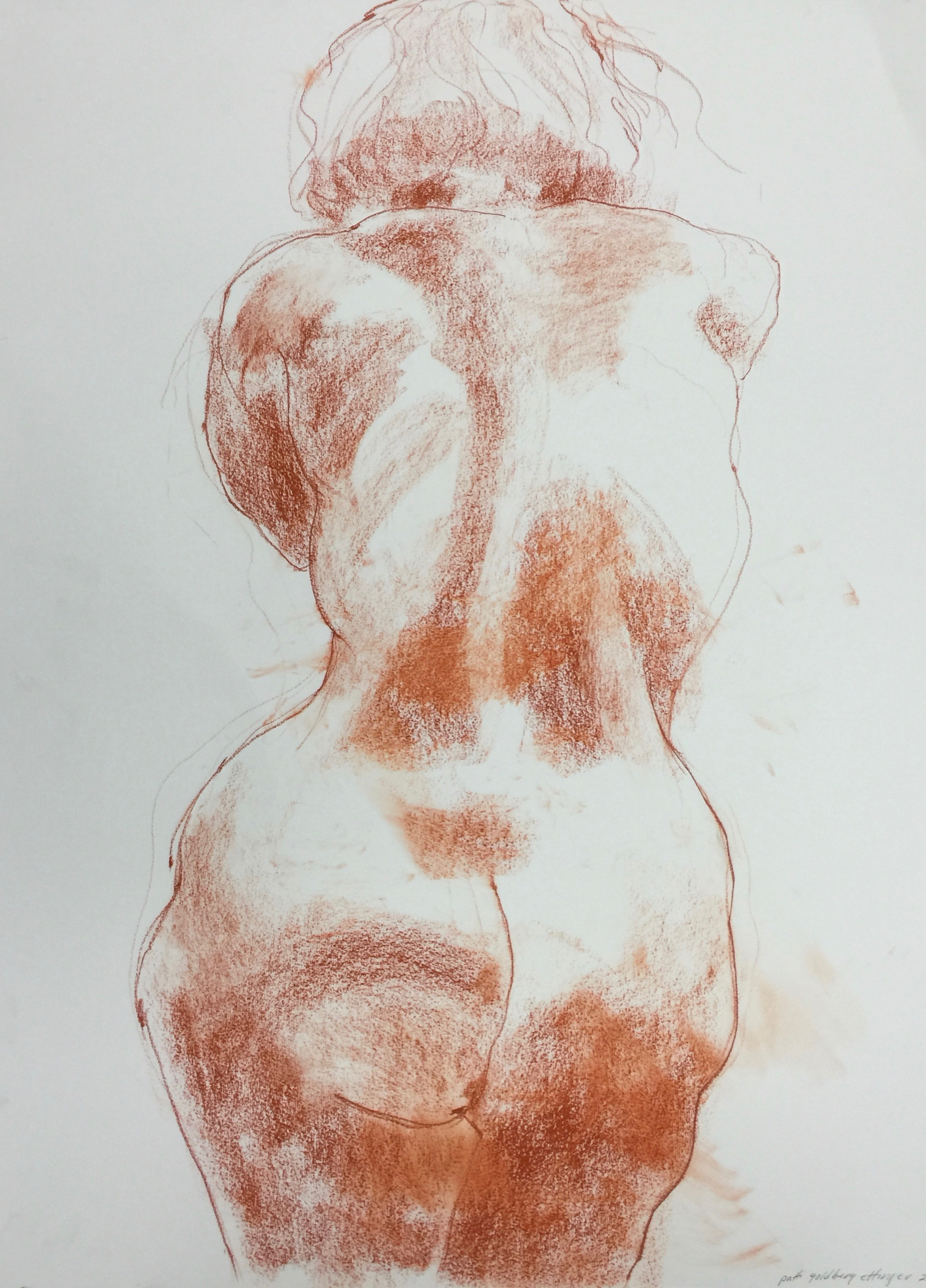 Figure Study: woman leaning rear view
