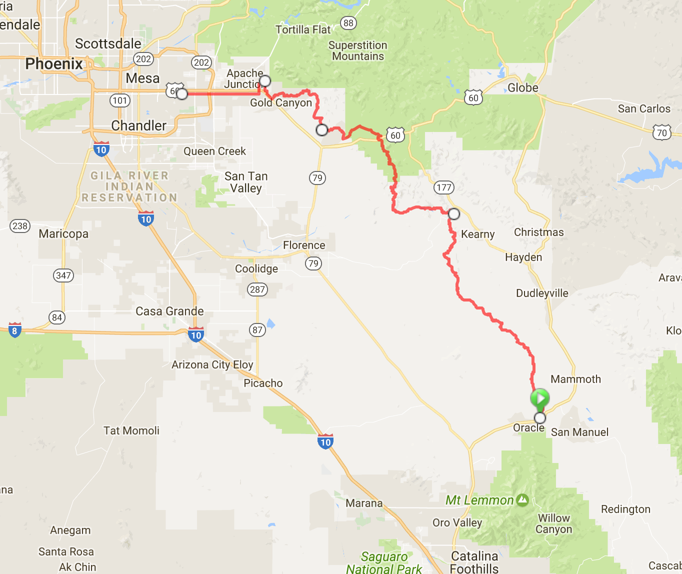 Final route up the AZT