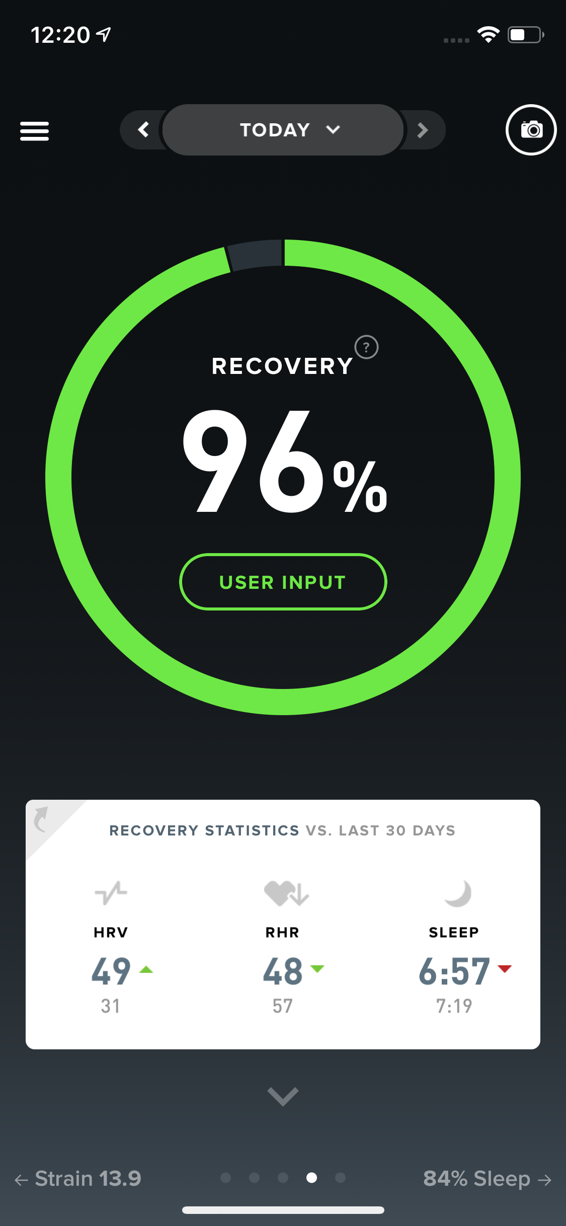 Morning recovery score based on amount/quality of sleep, HRV and RHR.