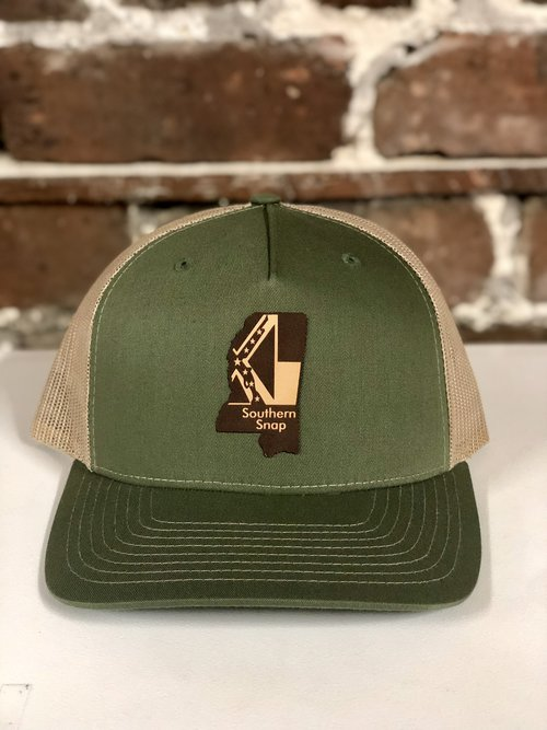 dfd34f05be4e0b Mississippi Leather State Trucker Hat Green/Tan — Southern Snap Co.