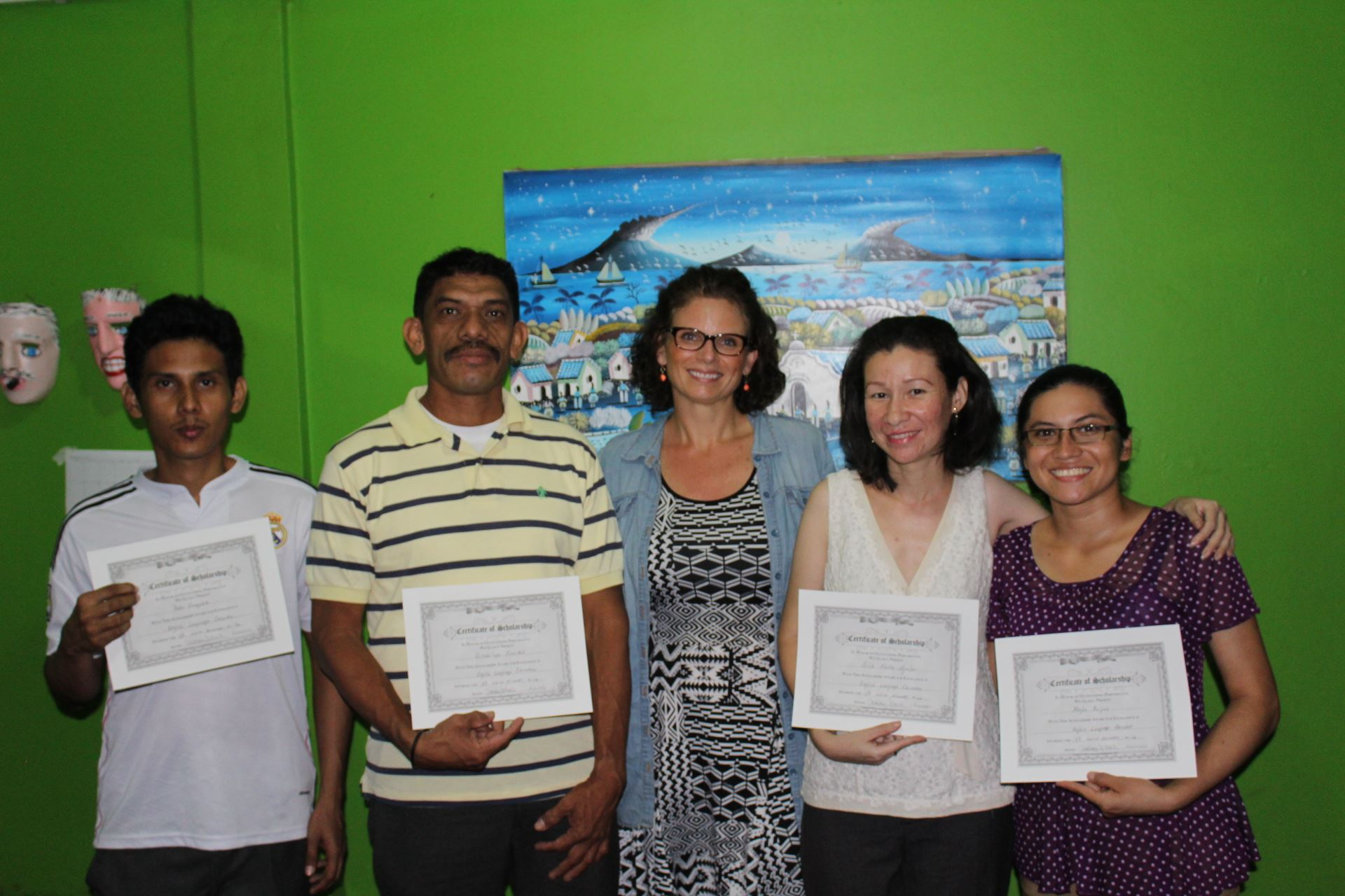 Courtney with English Scholarship recipients of Runucate in León, Nicaragua.