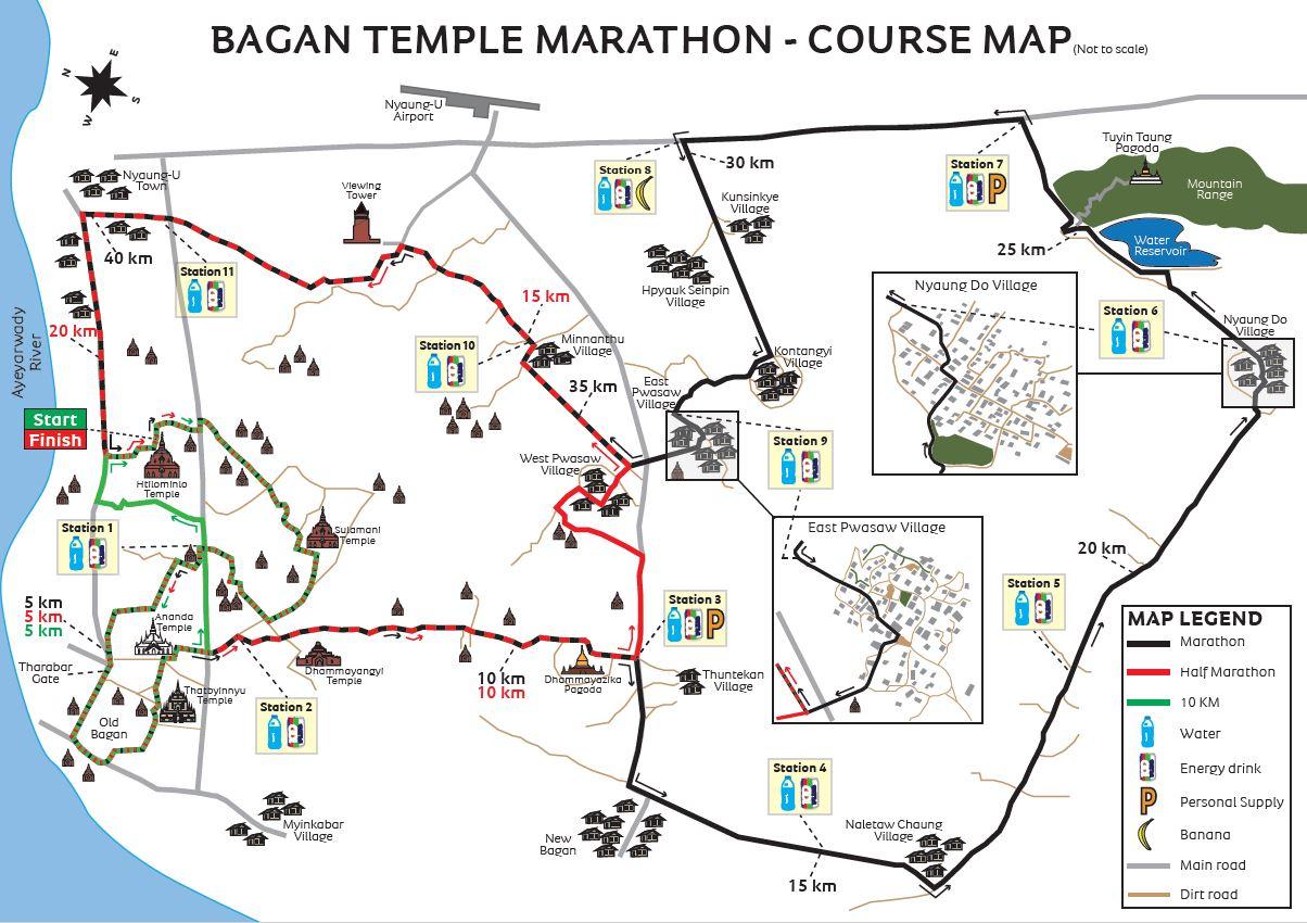 Bagan Temple Marathon Course Map
